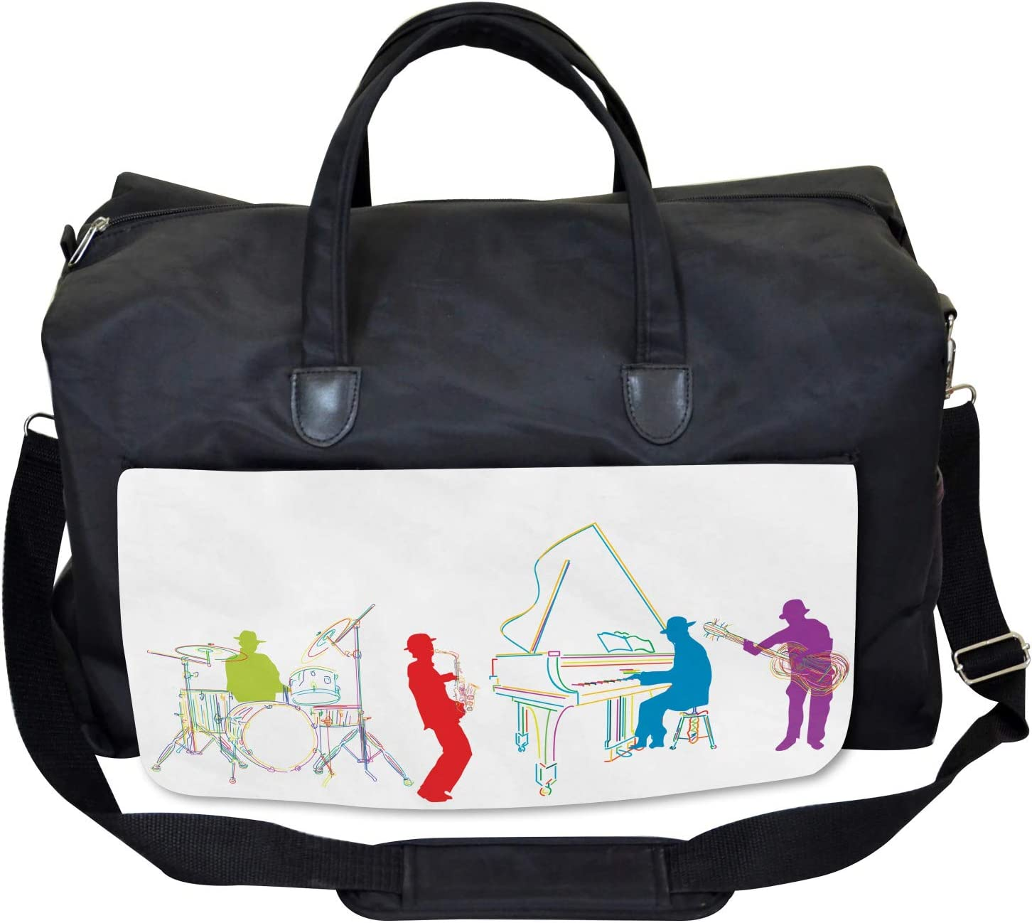 Retro Jazz Band Music Ambesonne Colorful Gym Bag Large Weekender Carry-on