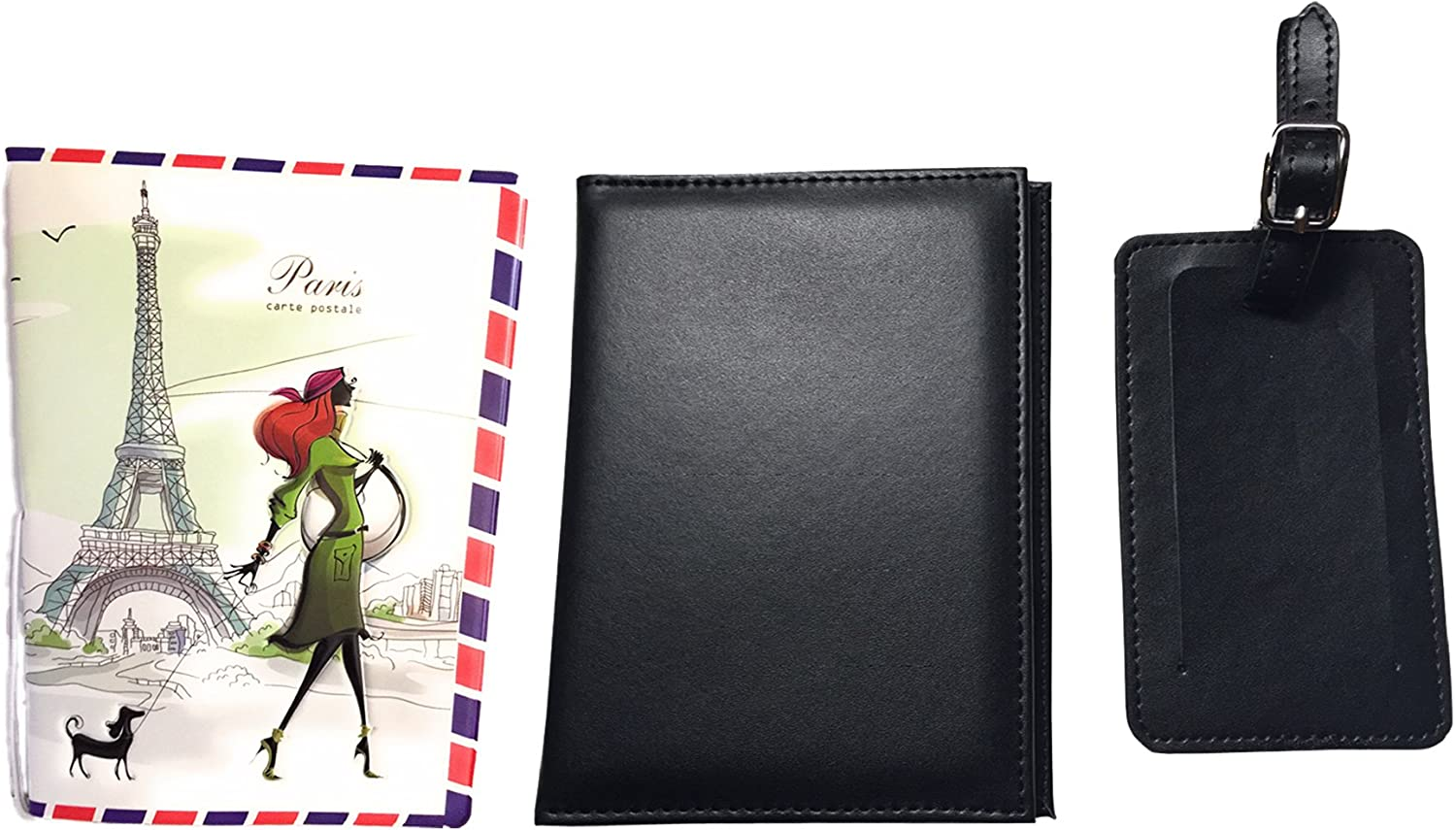 Passport Holder and Baggage Name Tag Plus Extra Paris Fashion Passport Cover