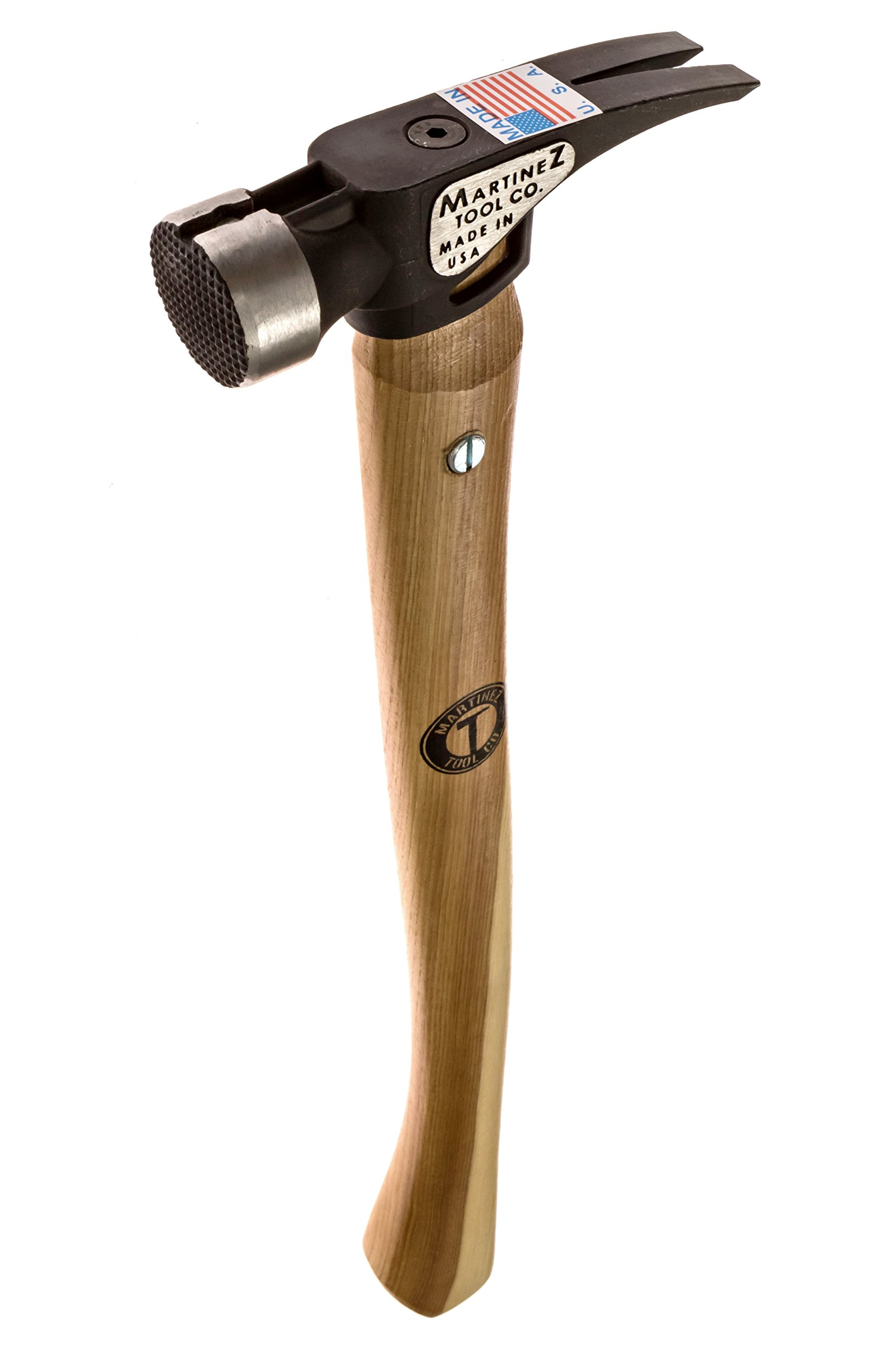 Martinez Tools 19oz Milled Face Steel Head Hammer with Curved Wood Handle