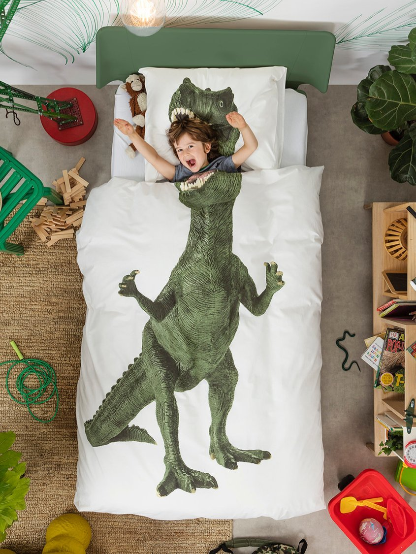 Dinosaur Duvet Cover and Pillow Case Set for Kids by SNURK – Twin