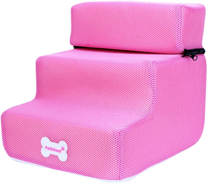 Protect Pets Joint and Knee Pet Supplies Wearefo Pet Stairs Breathable Mesh Foldable Pet Ramp Detachable Pet Bed Cat Dog Ramp 3 Steps