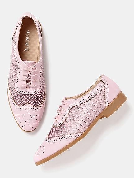 95d8248dee85a DressBerry Women Pink Snakeskin Texture Brogue Shoes (6UK)  Buy ...