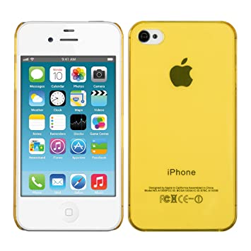 kwmobile Funda compatible con Apple iPhone 4 / 4S - Carcasa para móvil - Cover protector trasero [amarillo neón]
