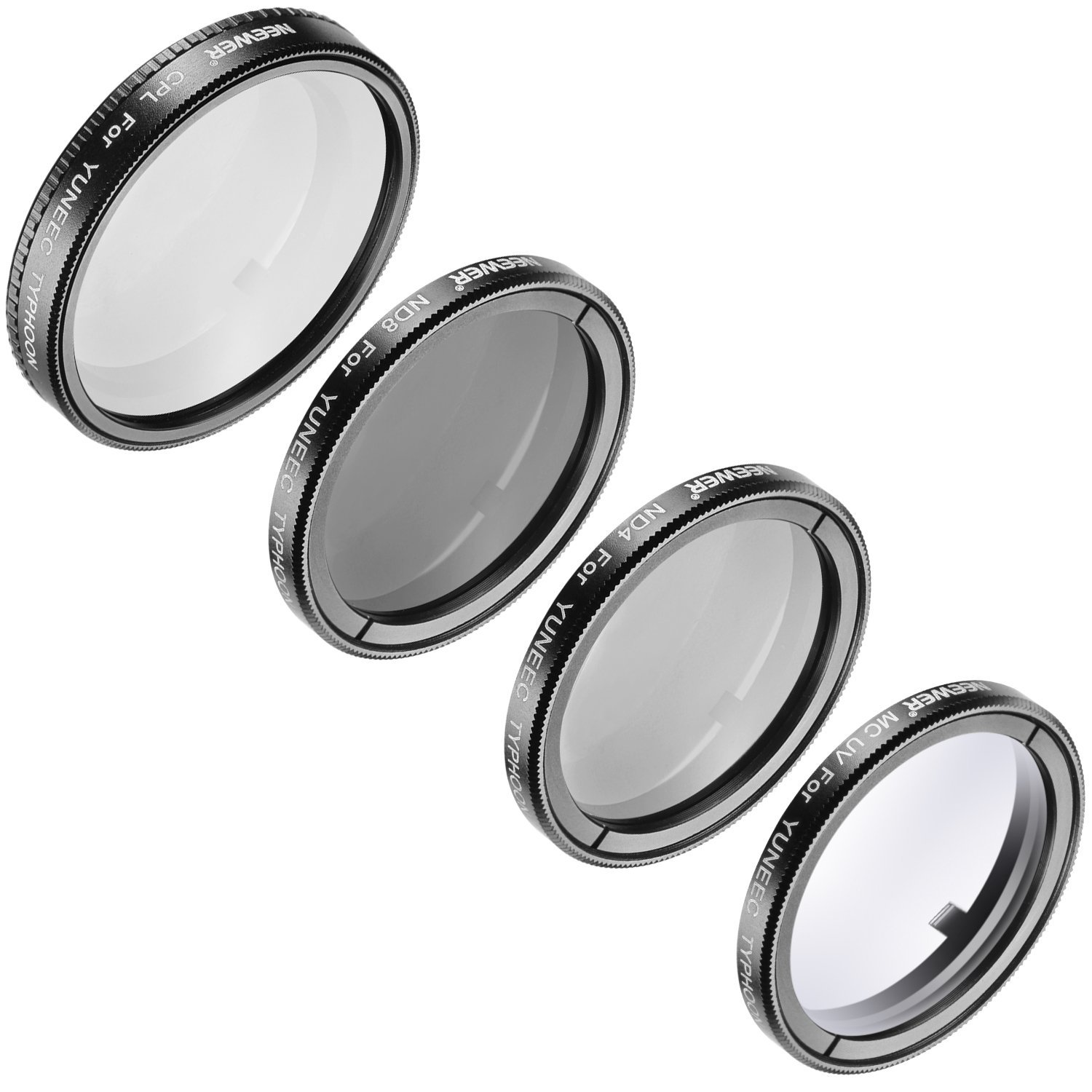 Neewer 4 Pieces Multi-coated Protection Lens Filter Kit for Yuneec Quadcopter Typhoon Q500 4K, Typhoon H, Includes: Ultraviolet Filter, Circular Polarizer Filter, Neutral Density ND 4 / ND 8 Filter by Neewer