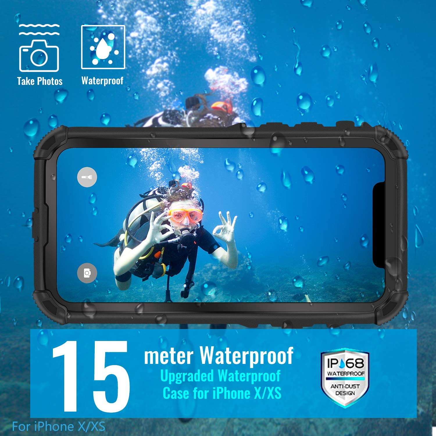 huge selection of f06ca 704e1 Meritcase iPhone X/Xs Waterproof Case, iPhone X Full Protection IP 68 15M  Underwater 3M Dropproof Snowproof Dirtyproof Dustproof Heavy Duty Rugged ...