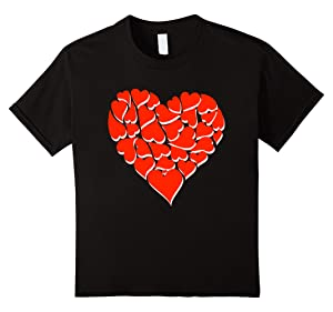 Kids Valentines Day heart Shirt For Kids Women Couples 12 Black
