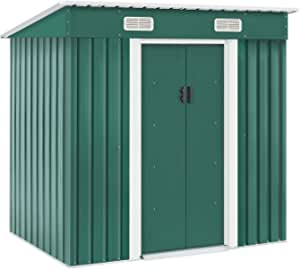 Cemeon 4x6 FT Outdoor Storage Shed Metal Garden Shed Tool House with Ventilation & Sliding Door for Garden, Courtyard, Lawn (Green)