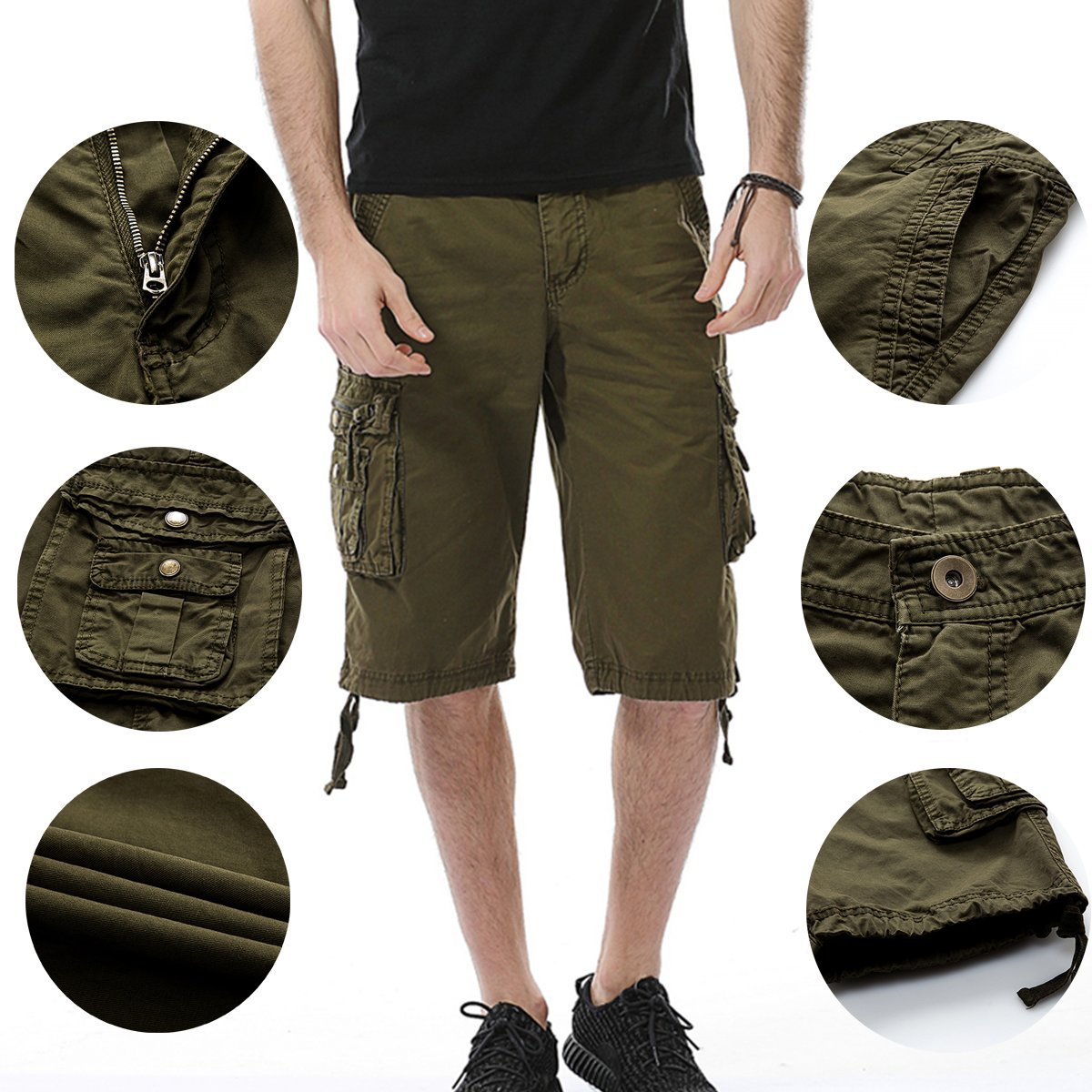 LOCALMODE Men's Casual Cotton Multi Pocket Twill Cargo Shorts Blue 36 by LOCALMODE (Image #3)