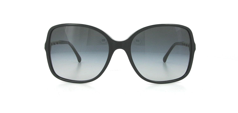 04cf15504882e6 Chanel CH 5210Q Authentic Women Sunglasses Square Black Silver Leather  Chain New  Amazon.fr  Vêtements et accessoires
