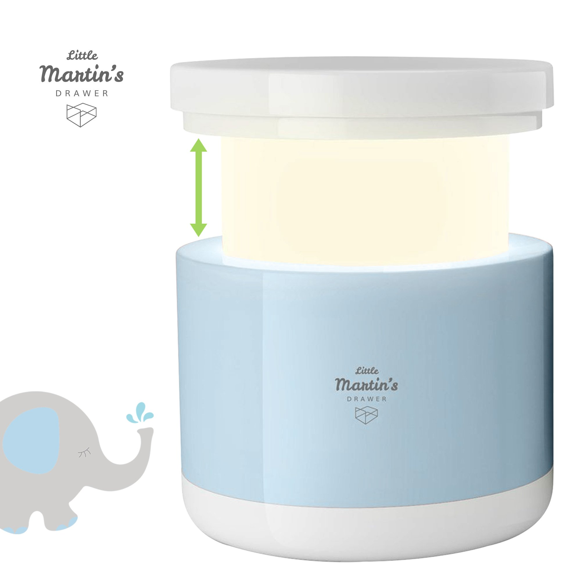 Little Martin's Night Light with Retractable Design – LED USB Rechargeable Baby Nursery Lamp - Adjustable Brightness & Cool White / Warm Yellow Two Color Modes – Toddler Kids Bedroom Bedside Lamp