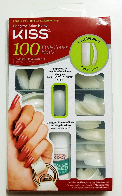 Kiss 100 Full Cover Nails Long Square (2 Pack) Ivy Enterprises Inc.