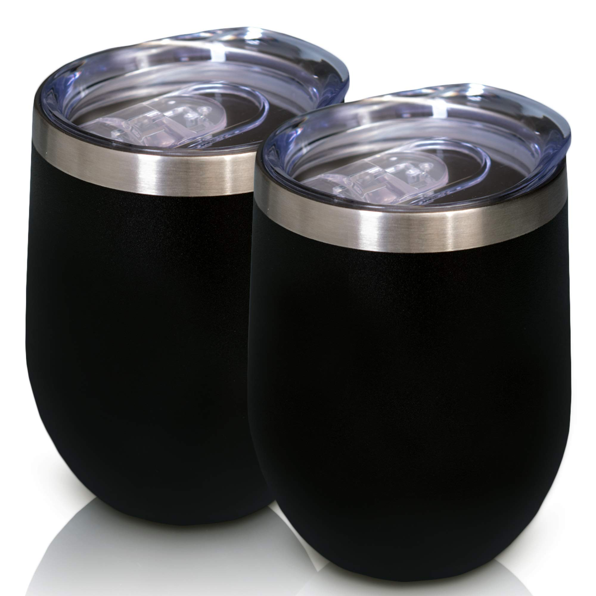 12 oz Wine tumbler stainless with straws and lids