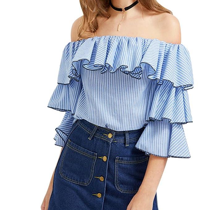 Mujer Camiseta Mangas 3/4 Volantes Blusa Playa Hombros Descubiertos Elegante Como Imagen L