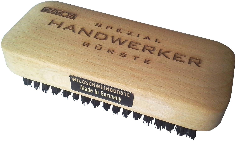 remos - cepillo para manos - madera de haya autóctona - cerdas de pelo de jabalí - 110 x 45 mm para eliminar la suciedad más difícil de manos y pies. ideal para artesanos, mecánicos o jardineros, entre otros. fabricado en alemania.