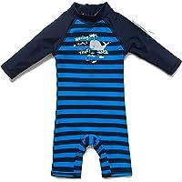BONVERANO Traje de baño de una pieza para bebé, ropa de baño de manga larga, protección UV 50+, con cremallera