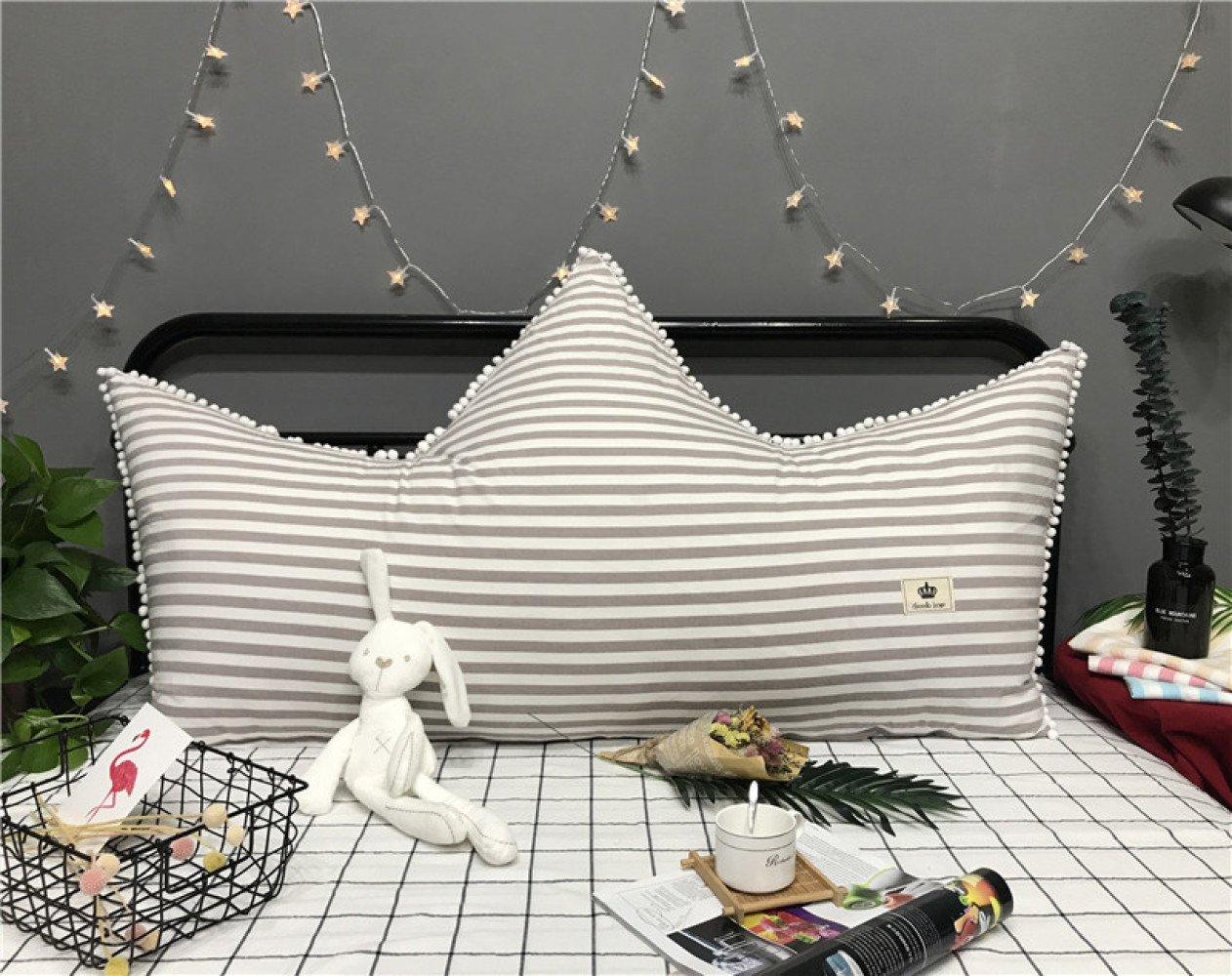 Krone Bett Rückenlehne Prinzessin Zimmer Weich Kopfteil Kissen 100% Baumwolle Bett Kissen Für Bett Sofa Moderne Kreative Einfache Streifen Rückenlehne Kissen,GrauStripe-59  31inch(150  80cm)