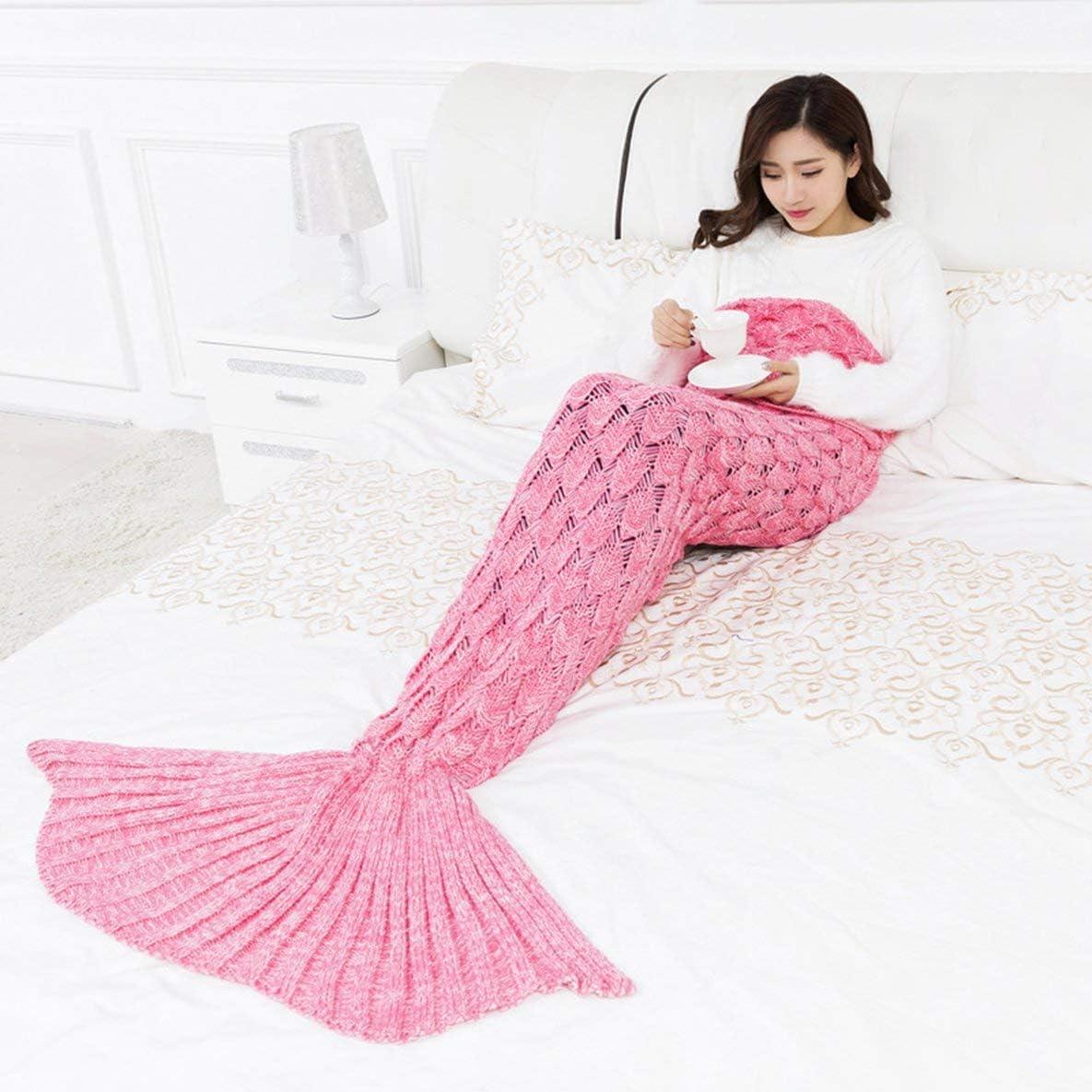Moliies Mermaid Manta Hecho a Mano de Punto Sleeping Wrap TV Sofá Mermaid Tail Manta Niños Adultos Bebé Ganchillo Bolsa Ropa de Cama Lanza Bolsa