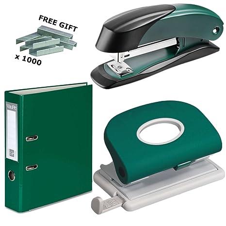 Juego de grapadora + perforadora + 5archivadores de palanca + grapas, color verde