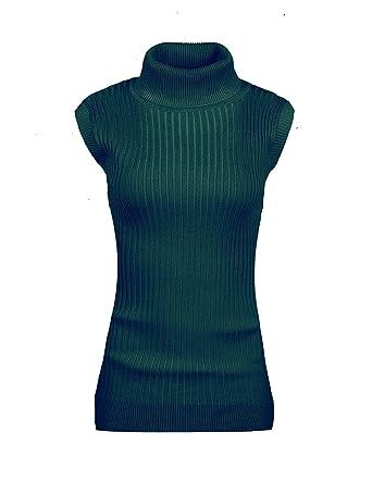 v28 Women's Sleeveless Ribbed Mock Neck Turtleneck Stretchable ...