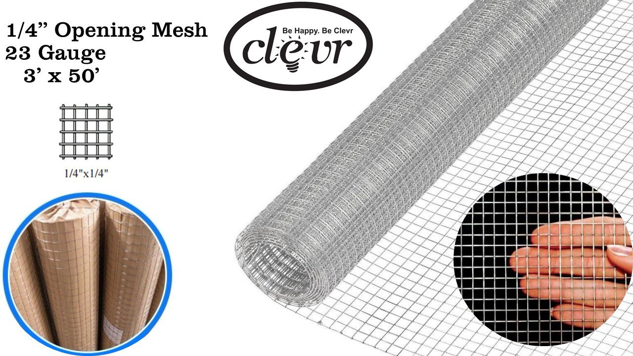 Clevr 3' x 50' 1/4 in 23 gauge Mesh Welded Wire Hot-dipped Galvanized Hardware Cloth Gutter Guards Plant Supports Poultry Enclosure Chicken Run Fence Indoor Rabbit Pen Cage Wire Window Doors