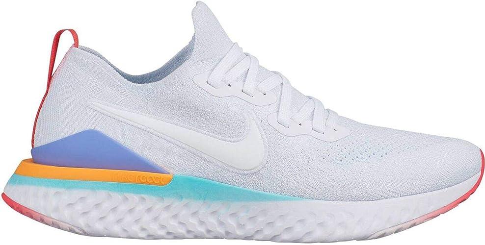 Nike Epic React Flyknit Tenis para correr para mujer, Blanco ...