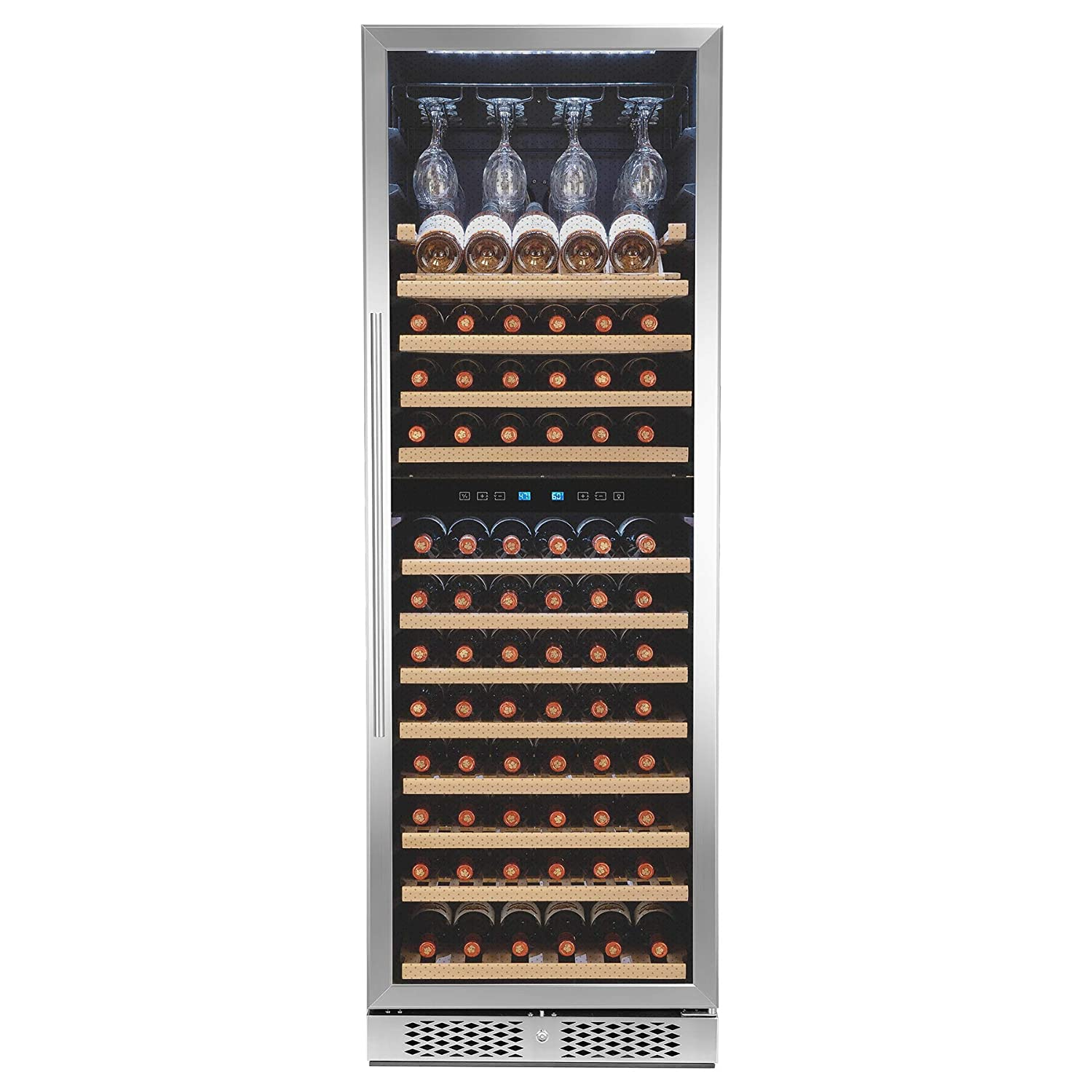 AKDY 69' 121-Bottle Touch Panel Dual Zone Wood Shelves Freestanding Compressor Key Lock Black Silver Wine Cooler WC0081