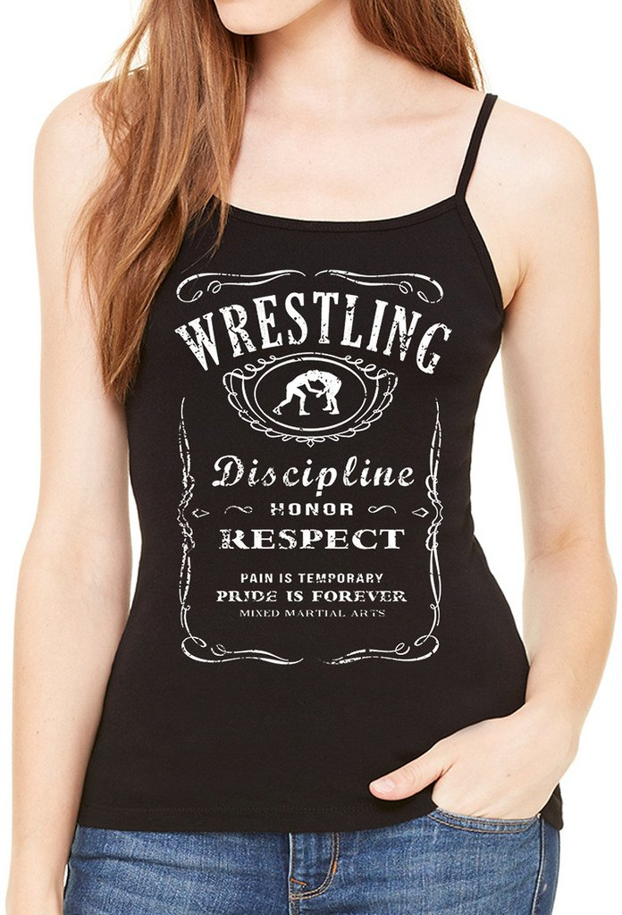 Junior's MMA Wrestling Whiskey Label Black Spaghetti Strap T-Shirt X-Large Black by Interstate Apparel Inc