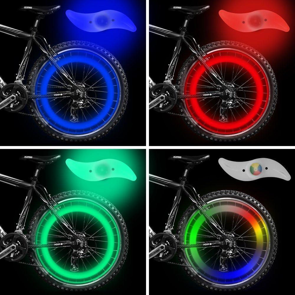 vimmor doble cara bicicleta habló luz viento fuego ruedas Gel de sílice radios luz lámpara de alambre de acero bicicleta rueda luz para bicicleta de montaña para bicicleta de montaña, Red+Blue+Green+Multi-color: Amazon.es: