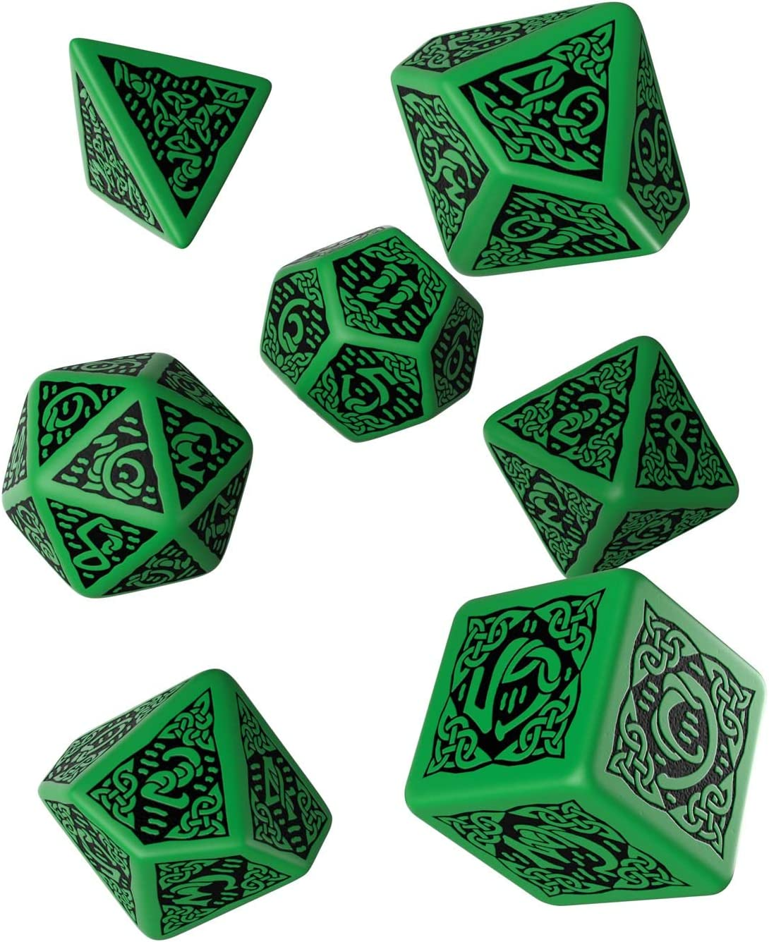 Qworkshop Celtic 3D revisado Verde /& Negro Dados Set 7