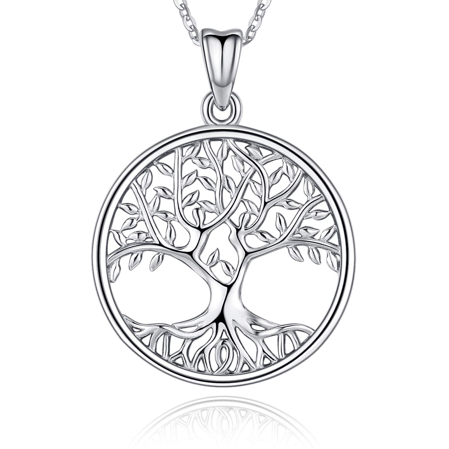 Aniu Tree of Life Pendant Sterling Silver Necklace for Women Comes with Black Jewellery Gift Box