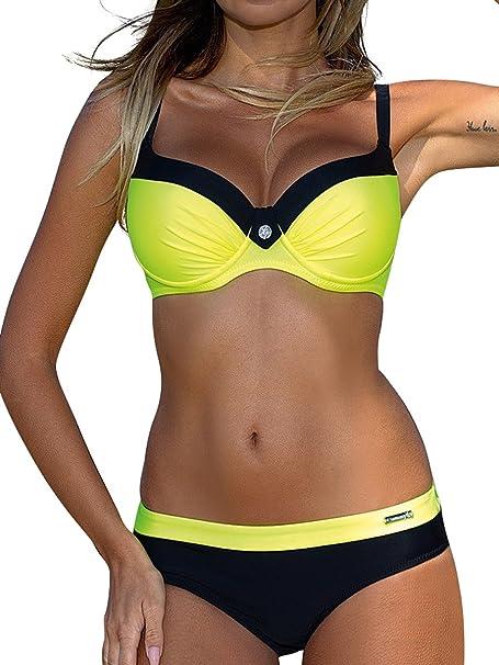 a03254af76d01 Costumi da Bagno Bikini Due Pezzi Donna Mare Sexy Costume Imbottito Push Up  Set Bikini Beachwear