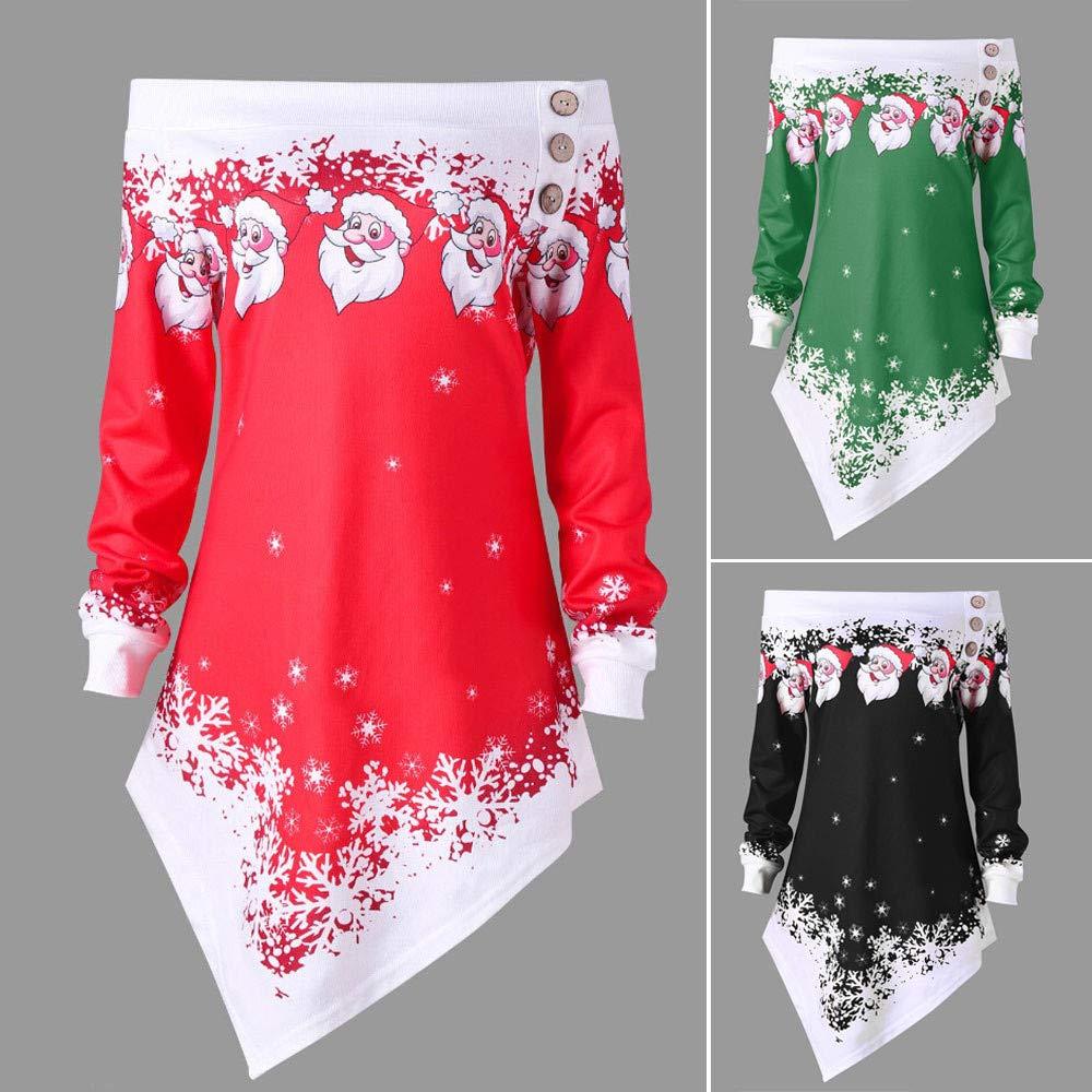 RedBrowm Christmas Santa Snowflake Printed Off Shoulder Asymmetric Sweatshirt Top