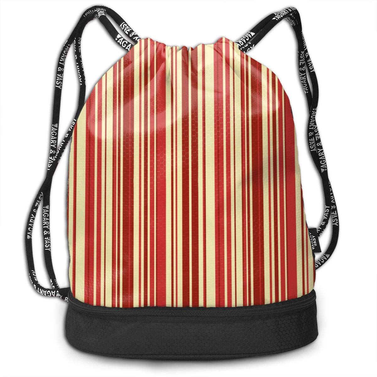 Sck Damask Red Cream Stripe Drawstring Backpack Sports Athletic Gym Cinch Sack String Storage Bags for Hiking Travel Beach