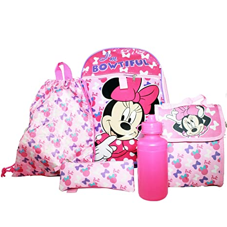 0a4b2811508 Image Unavailable. Image not available for. Color  KidPlay Products Disney  Minnie Mouse Backpack Set Carry Pouch Lunch Bag ...