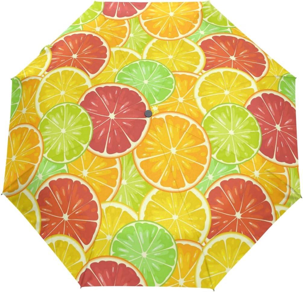 Crowded Seven Colored Lemon Slices fashion print cute Windproof automatic tri-fold umbrella sun UV protection Sun umbrella