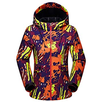 f6e8f7cac2394 GITVIENAR Veste Outdoor Femme Softshell à Capuche Polaire Chaud Camouflage  Vestes légères Imperméables Jacket pour Camping