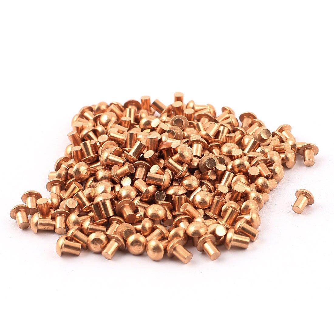uxcell 50 Pcs 5//32 x 5//8 Flat Head Copper Solid Rivets Fasteners