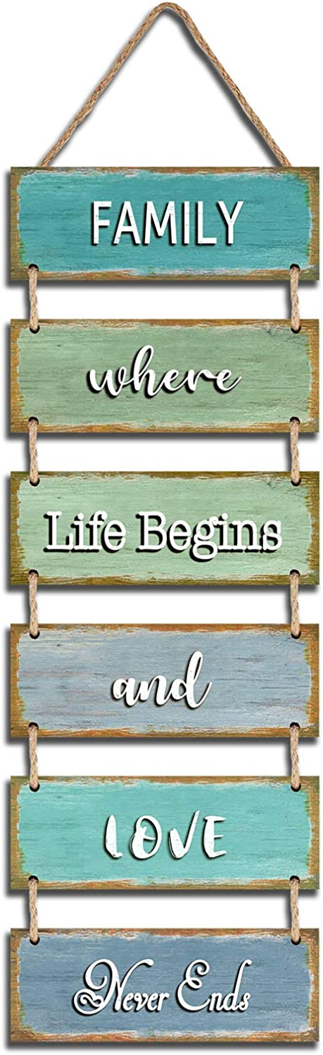 "Jeune Decor Large Rustic & Vintage Vertical Wooden Wall Hanging Sign for Home Decoration with a Quote(Family Where Life Begins and Love Never Ends). 11.75"" x 32"""