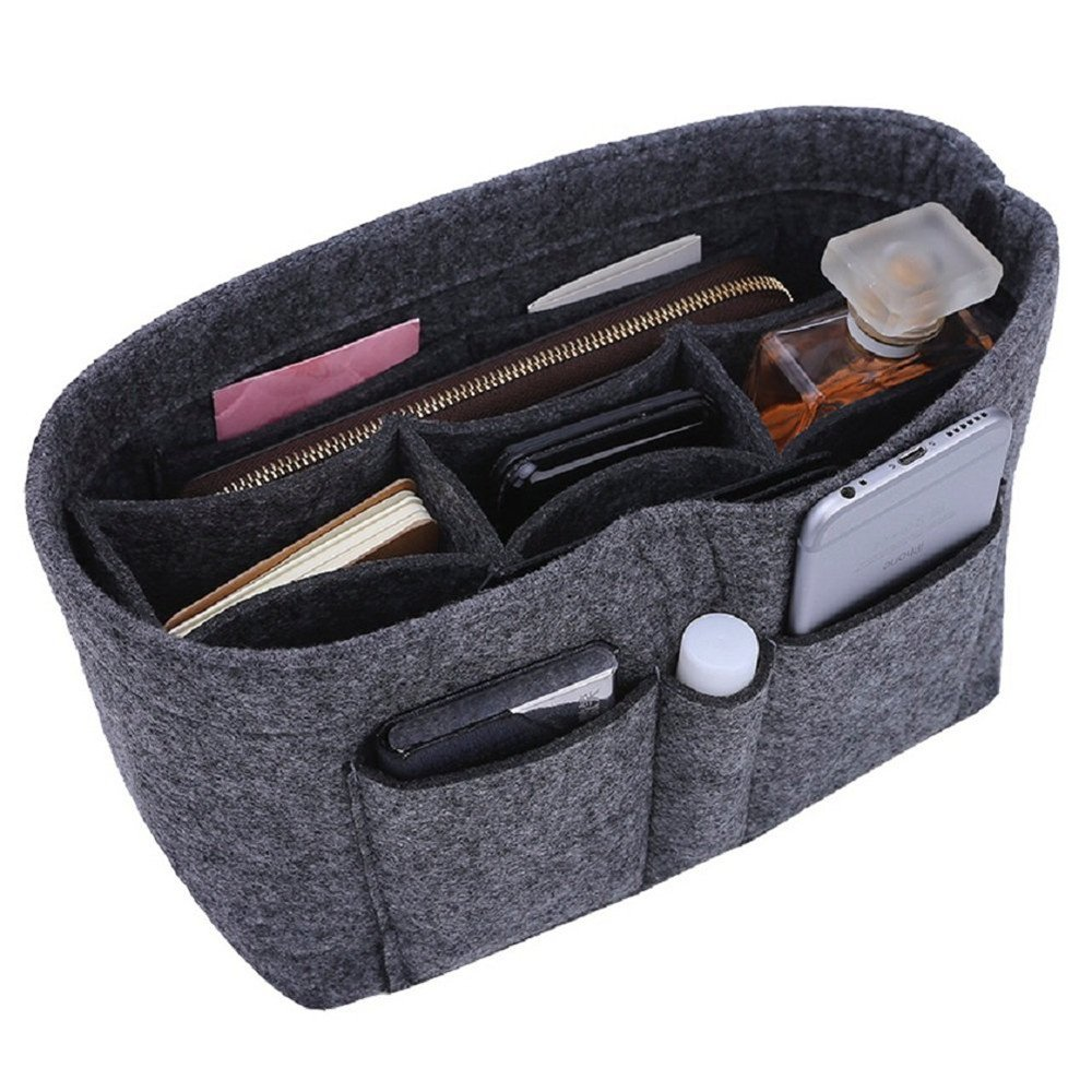 Felt Handbag Organizer, 13 Pockets Bag in Bag Travel Insert Purse Organizer for Handbag and Tote, Speedy 25 and Speedy 30, Beige Bag Insert In Bag, Durable, Larger Capacity (Grey)