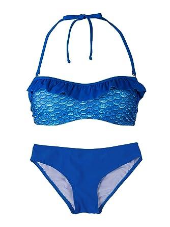 c79a3d9c27f58 Fin Fun Mermaid Girl's Scale Bandeau Bikini Swimsuit Set – Mermaidens  Swimwear