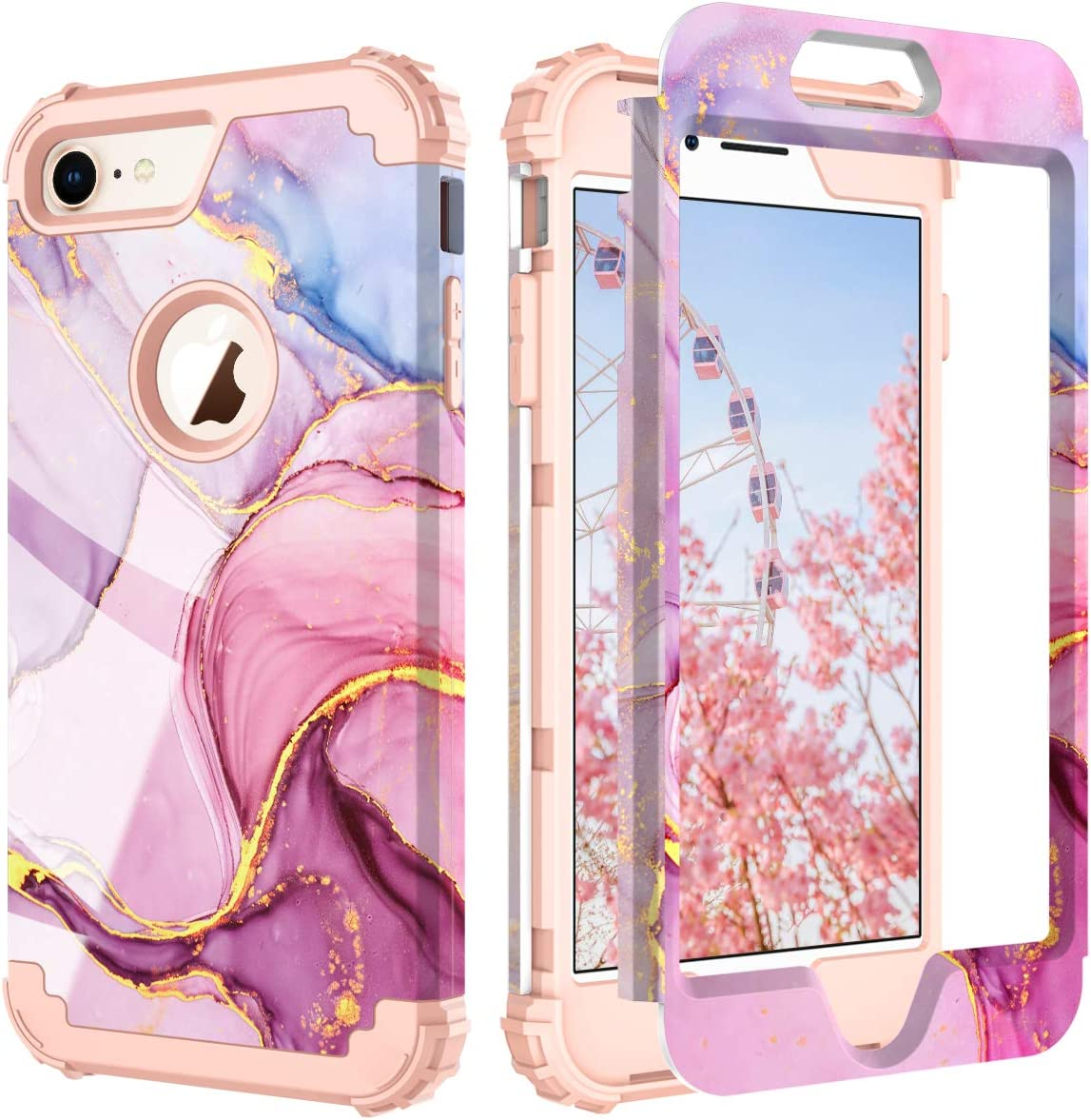 PIXIU Compatible with iPhone 8 Case/iPhone 7 case,Three Layer Heavy Duty Hybrid Sturdy Armor Shockproof Protective Phone Cover Cases for Apple iPhone 8 and iPhone 7(Marble)
