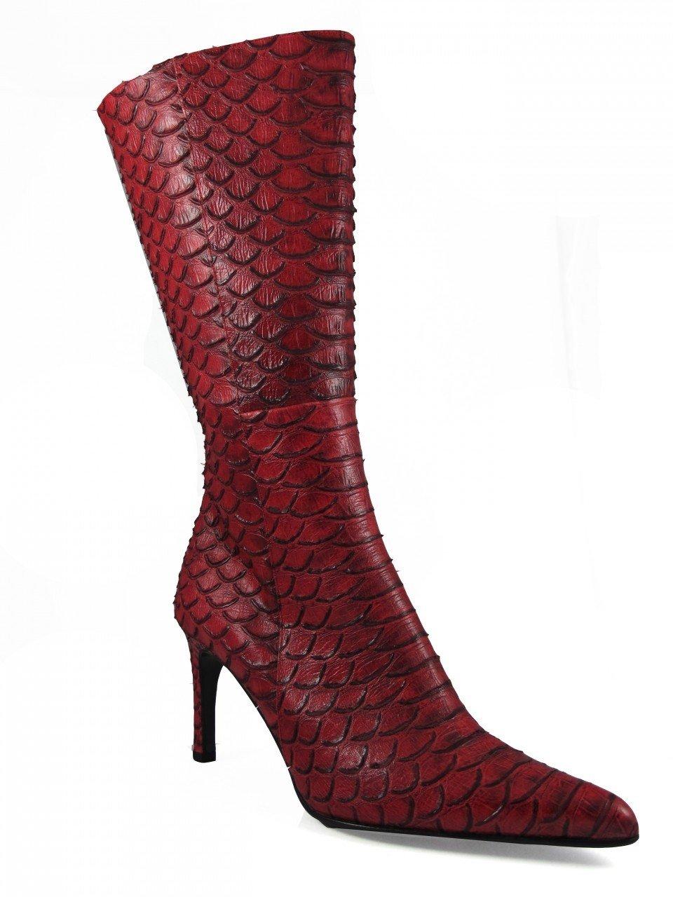DA'VINCI 4051 Women's Italian Leather Python Print Dress/Casual Low Heel Pointy Toe Boot,Red Size 37
