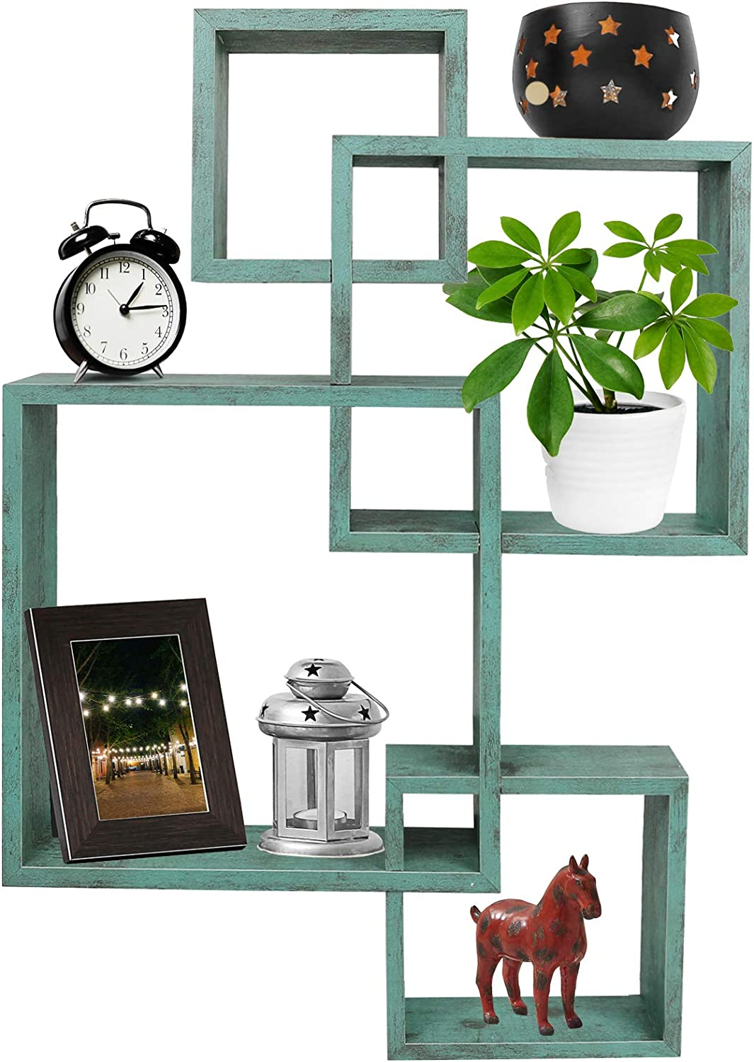 Greenco 4 Cube Intersecting Wall Mounted Floating Shelves Rustic Turquoise Finish.