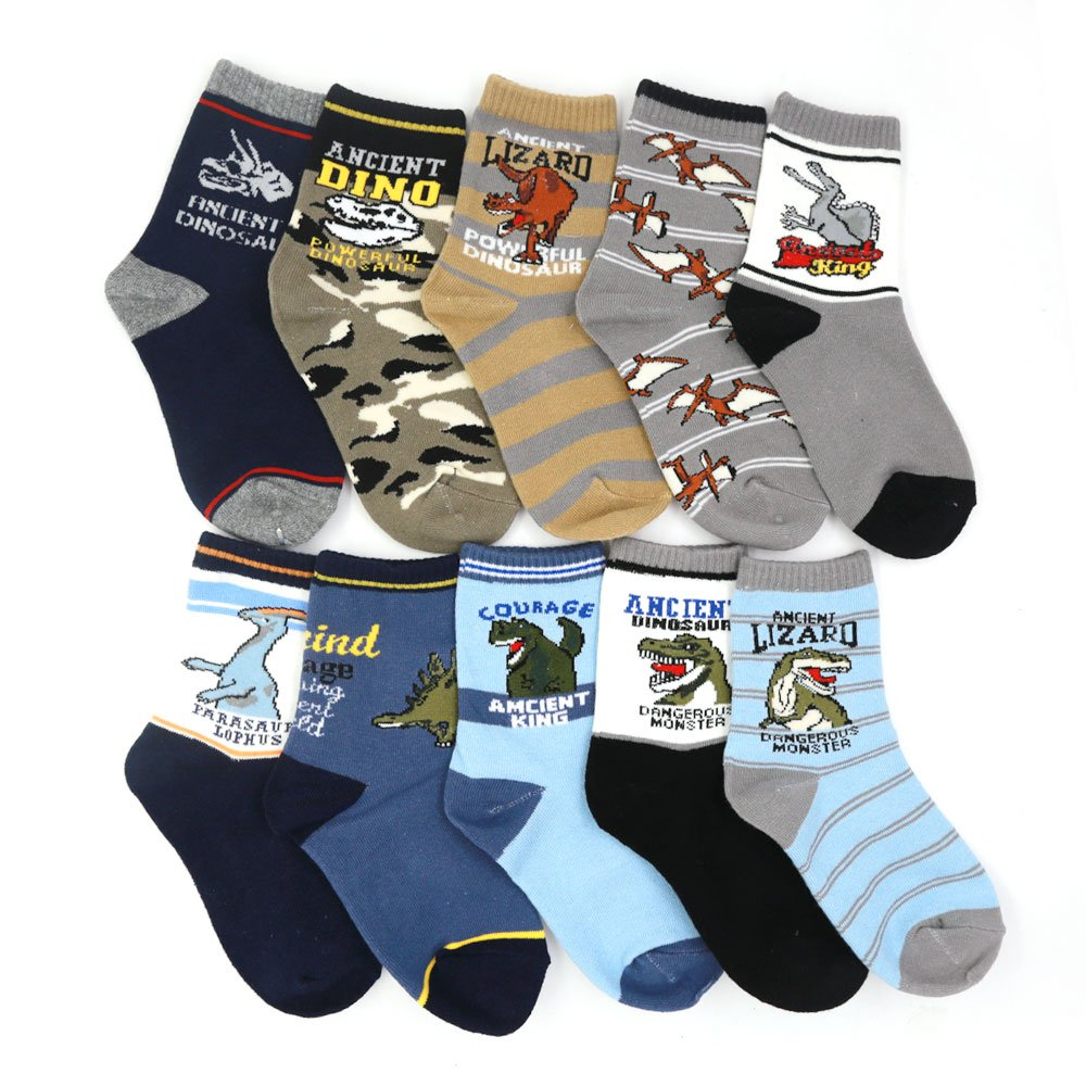 Boys Socks,10 of Pack Cute Cartoon Dinosaur Pattern Cotton Boys Crew Socks 4-12 years