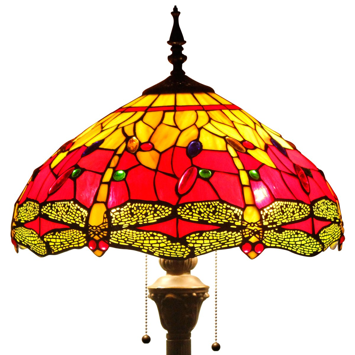 Tiffany style floor lamp lighting S009R series W16 inch red dragonfly shade E26 by werfactory