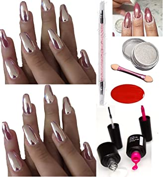 ROSE GOLD CHROME POWDER MIRROR NAILS NO WIPE TOP COAT PINK UV GEL PIGMENT KIT
