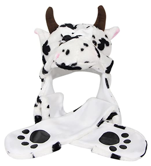 23e77f60346 Amazon.com  Bioterti Plush Novelty Animal Hat 3 in 1 Beanie with Long Paw  Scarf