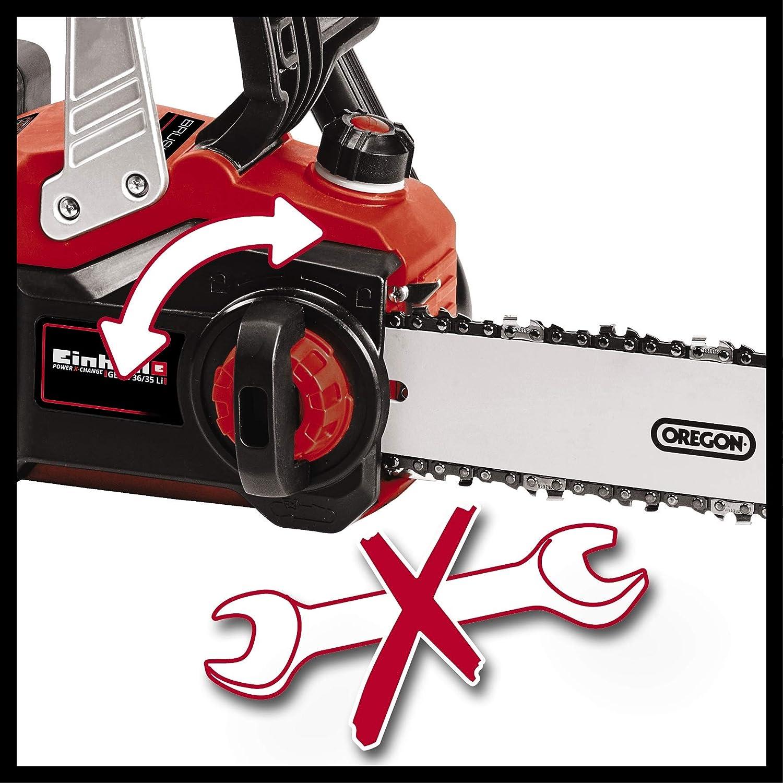 Einhell GE-LC 36/35 Li-Solo BL - Motosierra a batería Power X-Change, 2x18 V, Brushless, cadena y espada Oregon, velocidad de corte 15m/s, largo de ...