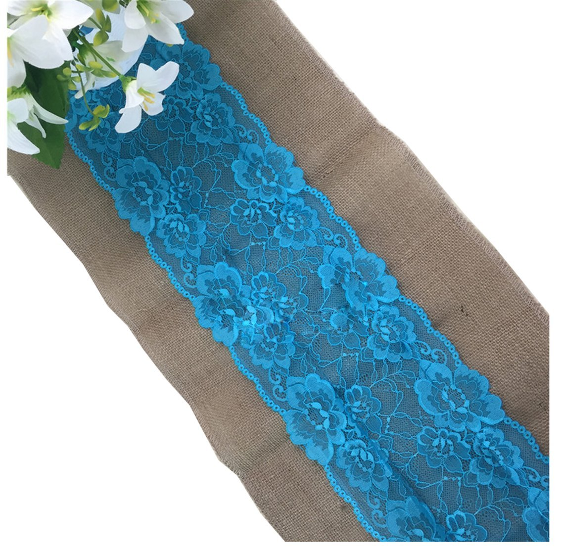 Huachnet Natural Jute Burlap Hessian Table Runner with Lace Trim Rustic Wedding Party Decor Sewing Craft 30*275CM (3 Yard)- Ocean Blue