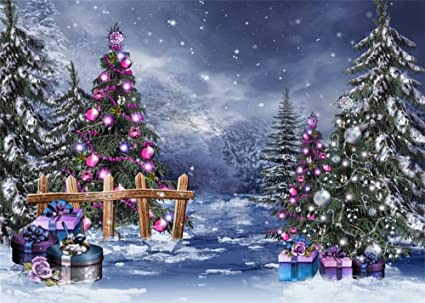 Christmas Forest.Leowefowa 7x5ft Christmas Backdrop Xmas Decoration Tree Forest Wood Fence Gifts Box Balls Snowing Blue Sky Winter Outdoor View Happy New Year Vinyl